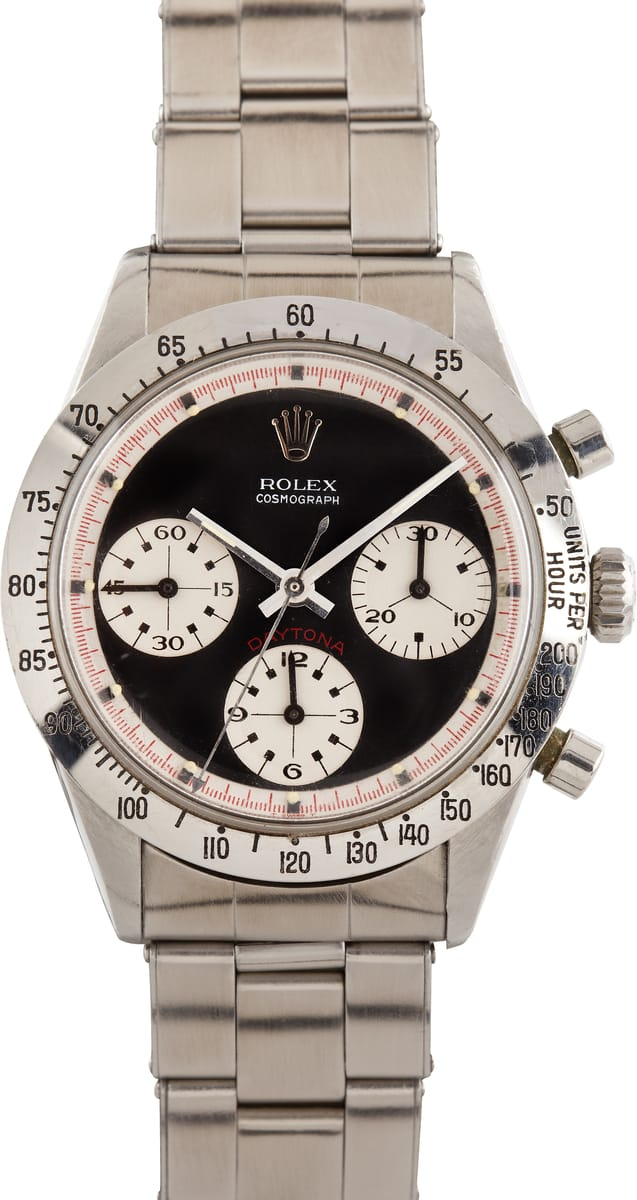Stainless steel Rolex Daytona Paul Newman watch with white dial