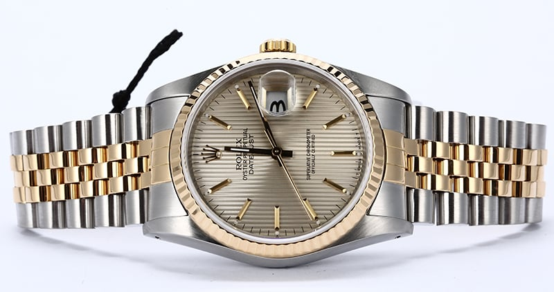 d2743e7780a Pre-Owned Rolex Datejust 16233 Silver Tapestry Dial