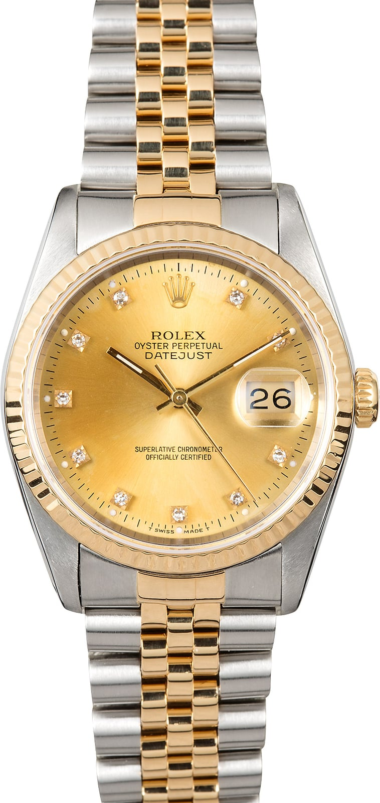 buy men s used rolex watches at the best prices at bob s watches datejust rolex 16233 champagne diamond