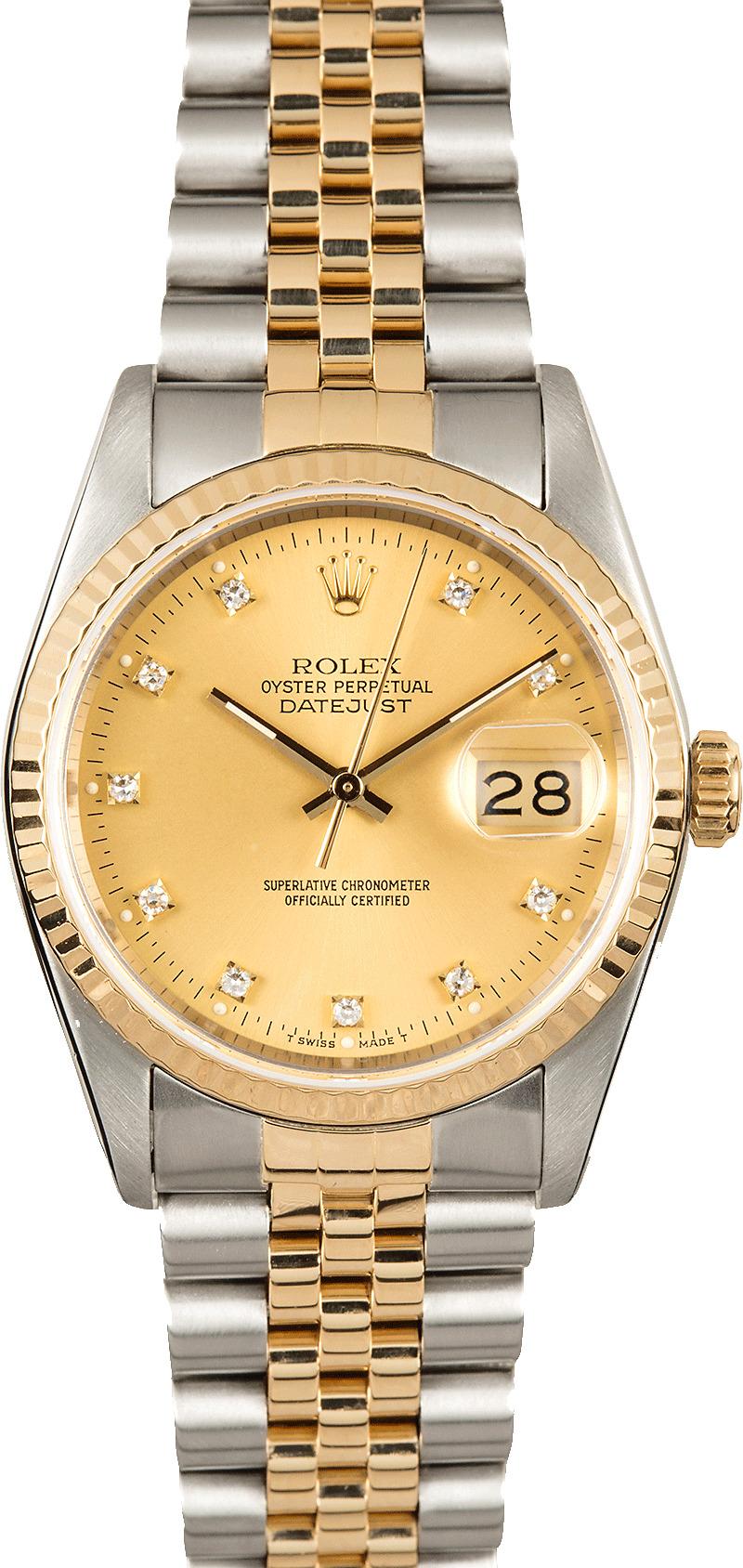 Datejust Rolex 16233 Champagne Diamond Dial