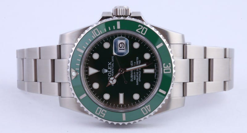 green submariner hulk 116610 from Bob's Watches.