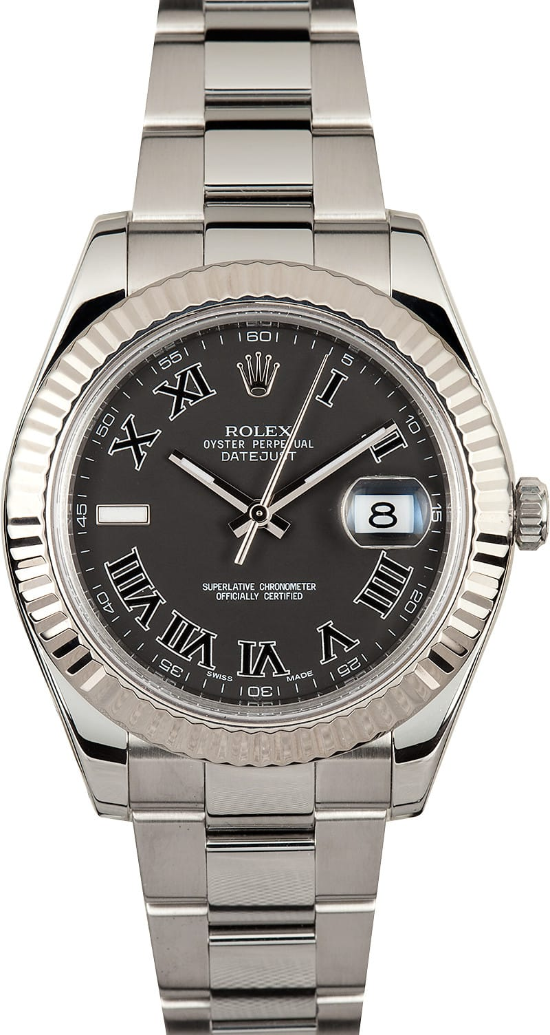 Rolex Datejust Black Dial White Gold 116334 Low Prices