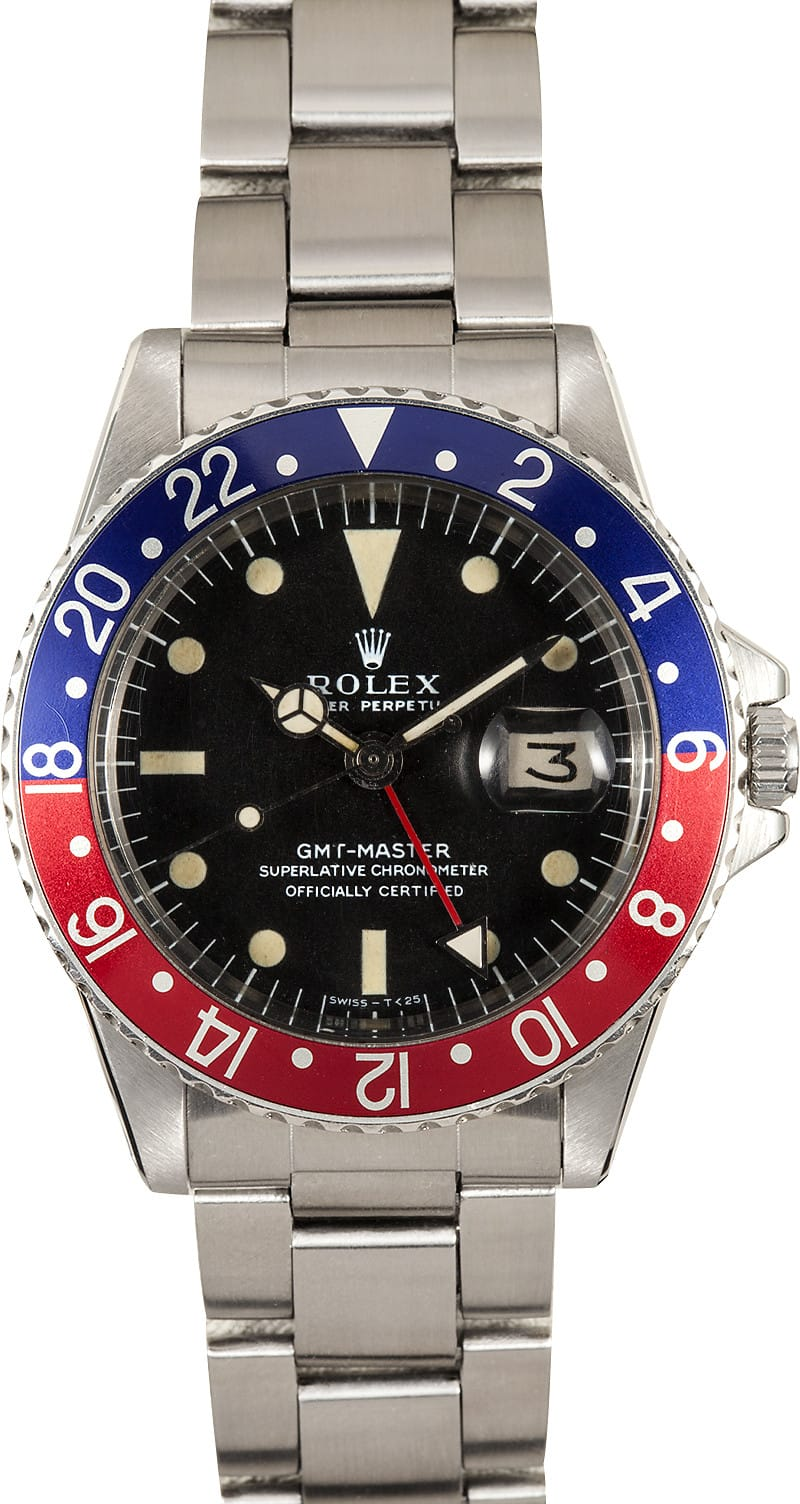 Certified Pre Owned >> Rolex Vintage GMT 1675 Pepsi Red/Blue Bezel - Get The Best ...