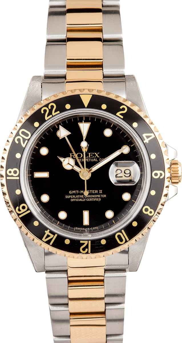 Used Rolex Daytona >> Pre-Owned Rolex GMT Master II Stainless Steel and Gold Mens Watch 16713 - Save At Bob's Watches