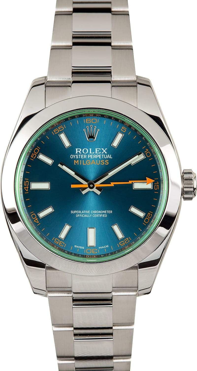 Rolex milgauss 116400v blue for Rolex milgauss