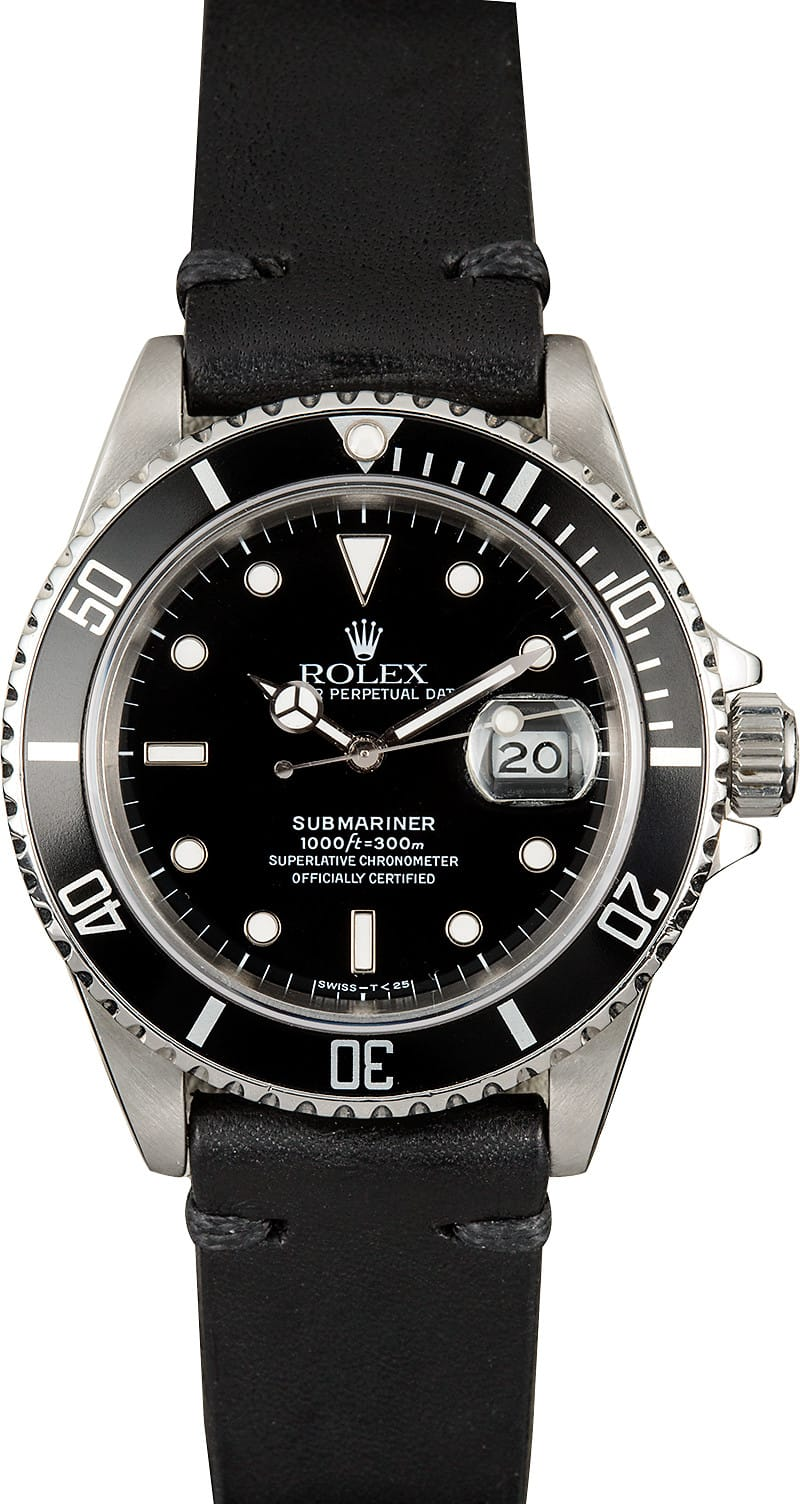 rolex submariner 16610 leather. Black Bedroom Furniture Sets. Home Design Ideas