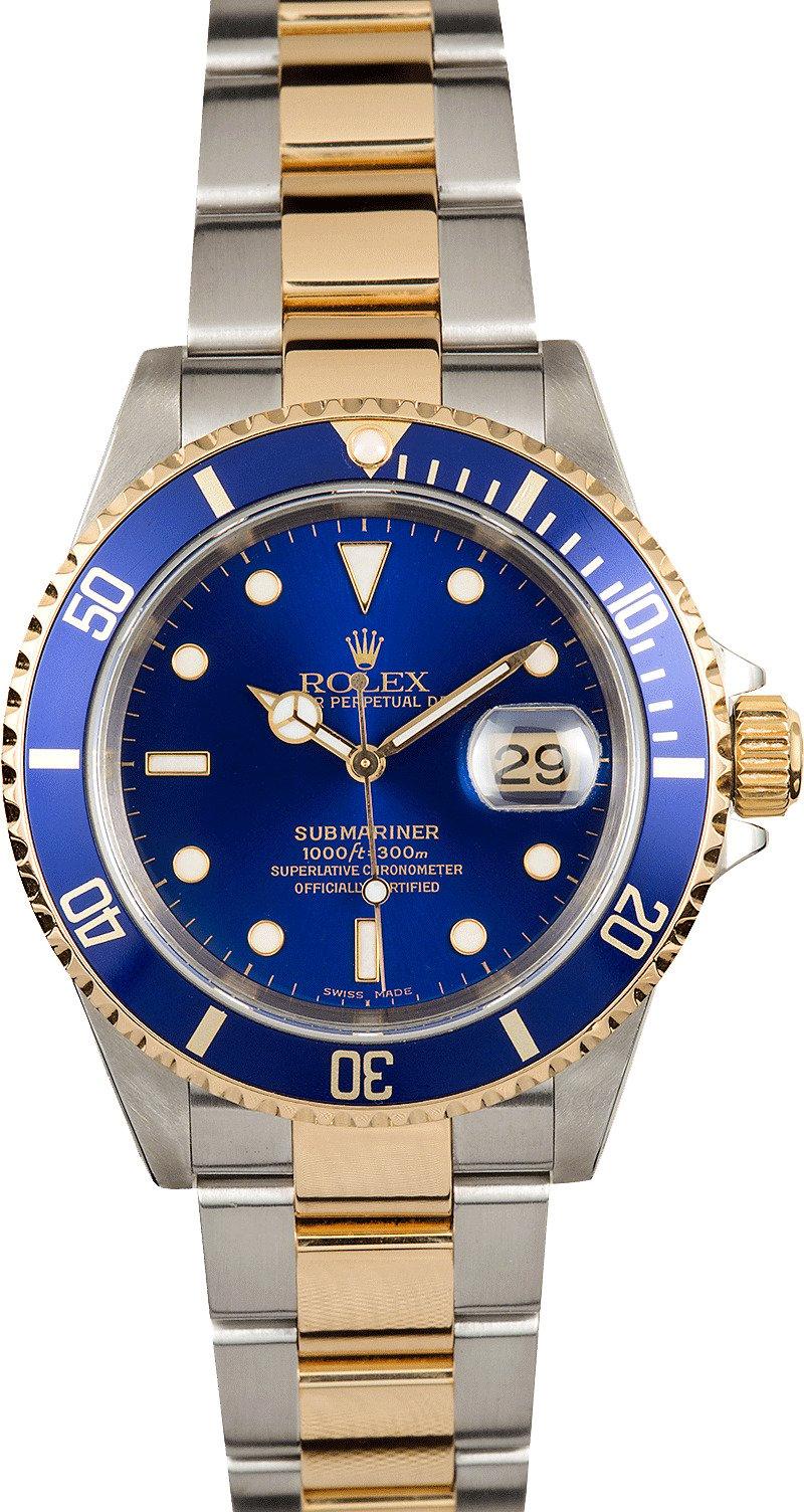 Used Rolex Submariner >> Rolex Blue Submariner Two Tone 16613