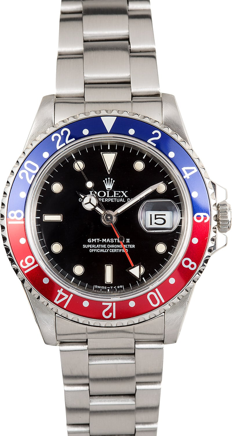 Rolex gmt master ii 16710 pepsi bezel stainless for Rolex gmt master