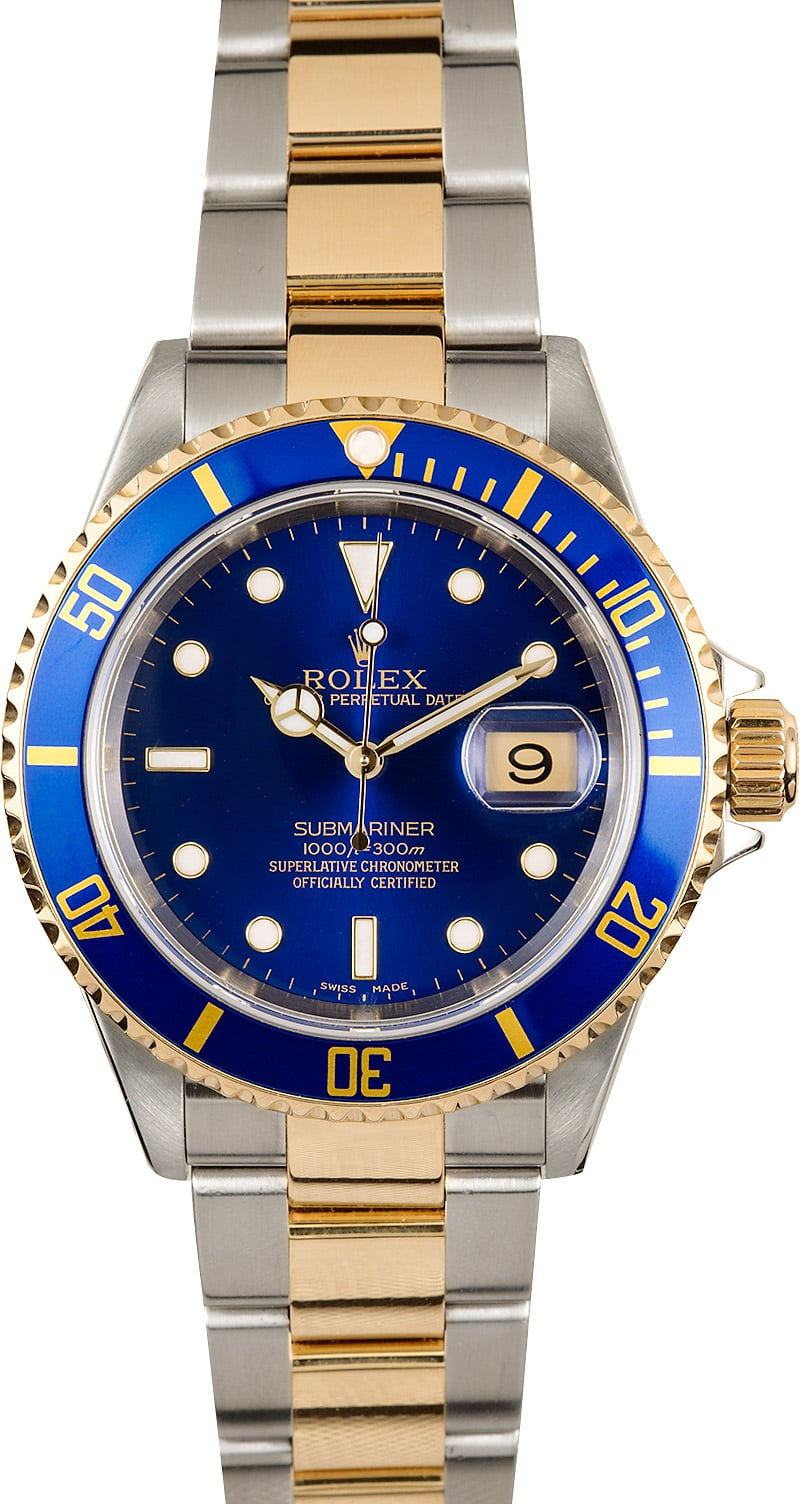 Pre,Owned Mens Rolex Submariner Two Tone with Blue Face 16613