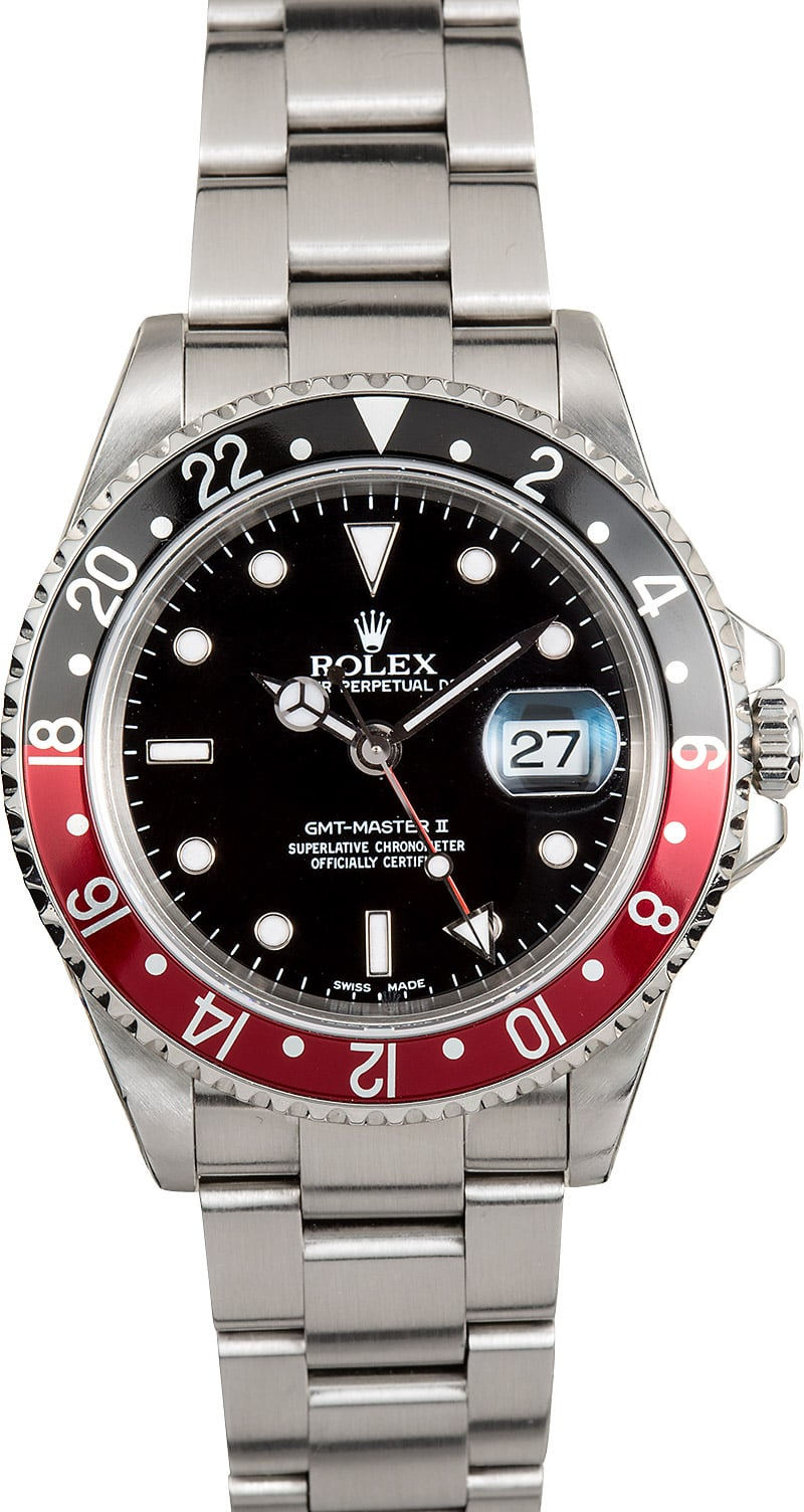 Pre owned rolex gmt master ii 16710 men 39 s stainless steel oyster bracelet for Rolex gmt master