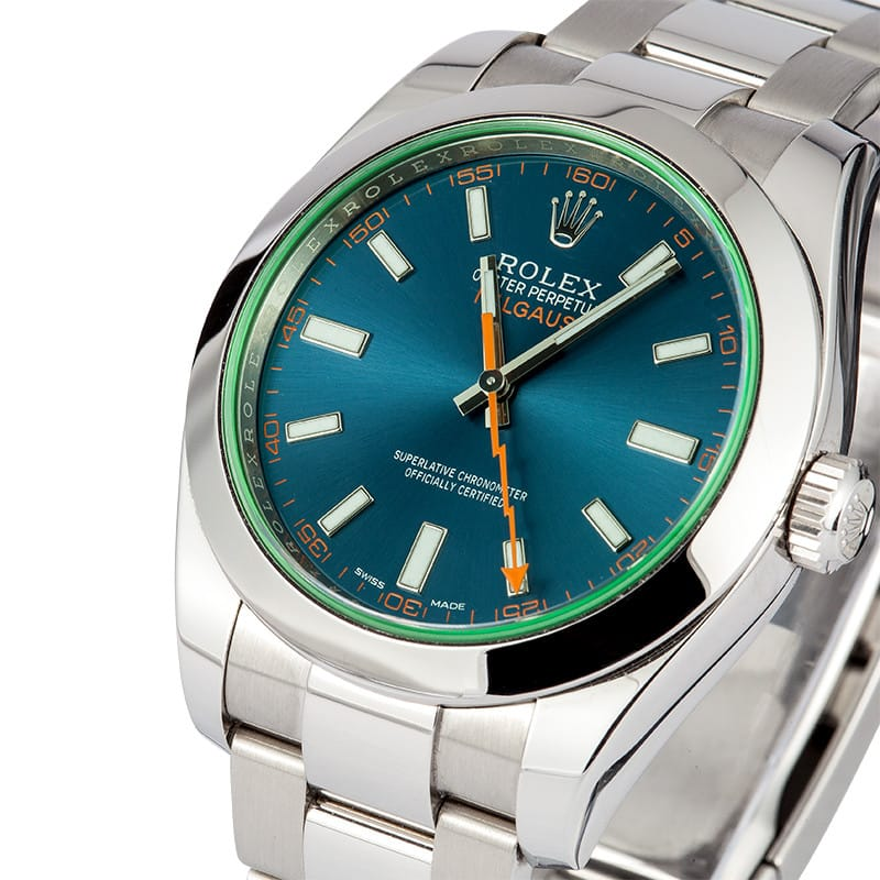 Rolex milgauss 116400 blue on sale for Rolex milgauss