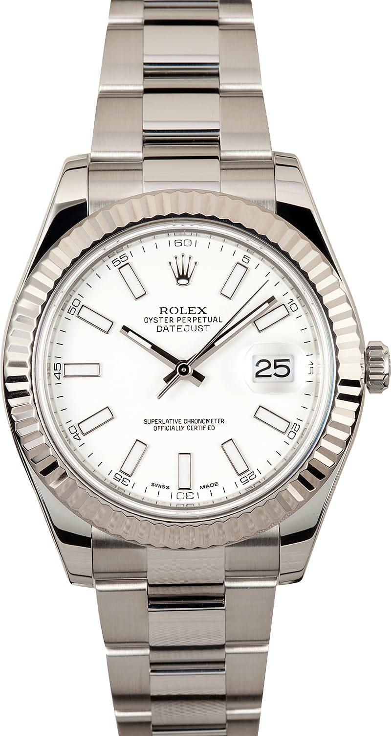 Used Rolex Submariner >> Rolex DateJust II 41MM White Dial 116334 - Save At Bob's ...