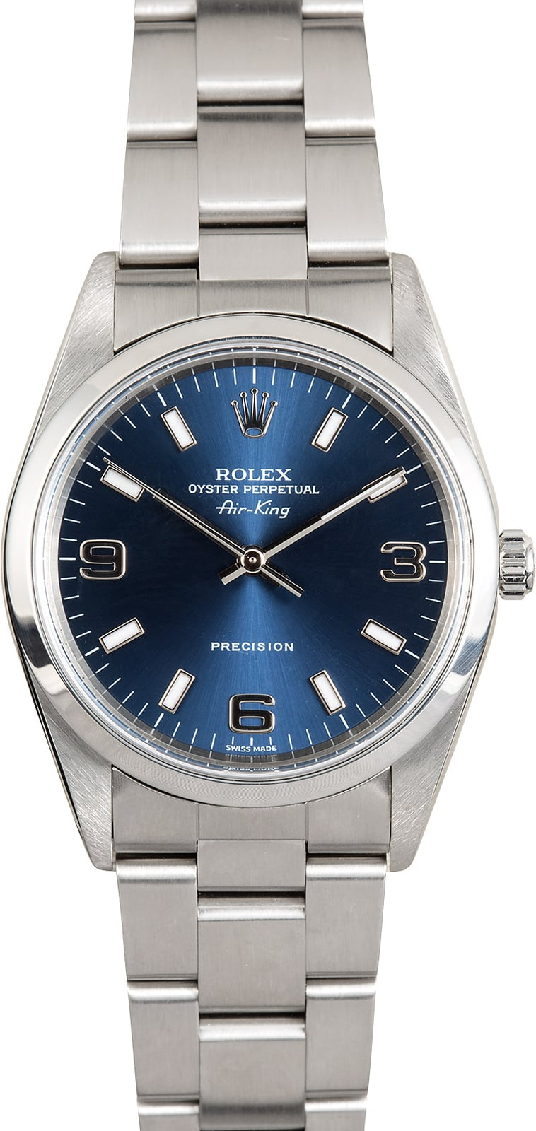 Rolex air king 14000 blue dial stainless oyster for Rolex air king
