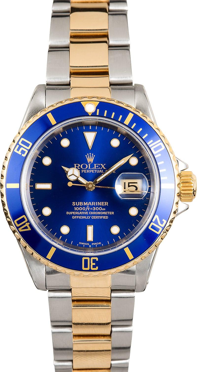 Rolex Blue Bezel Submariner Two-Tone 16613