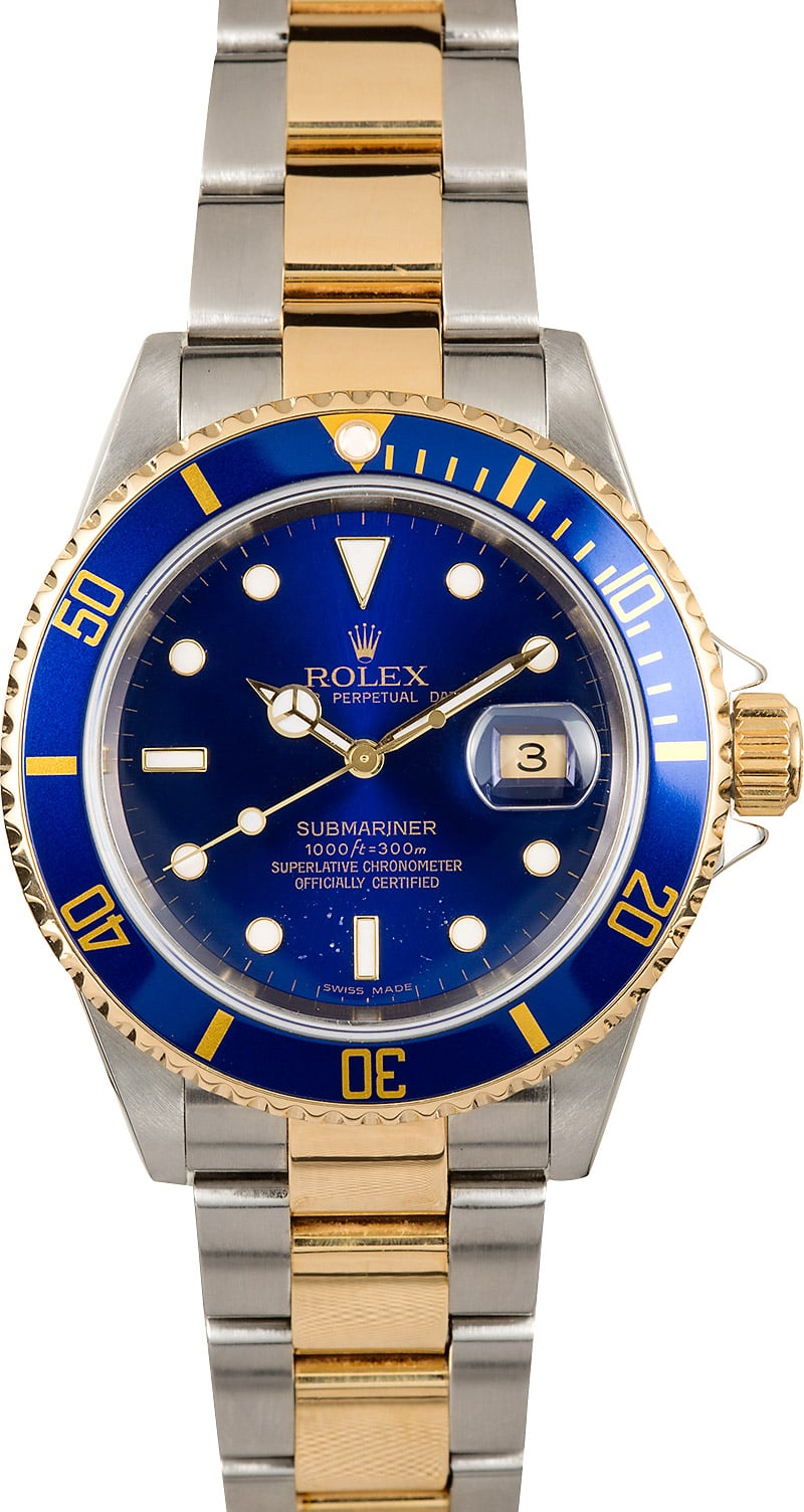 Used Rolex Submariner >> Rolex Blue Submariner 16613 Certified Pre-Owned