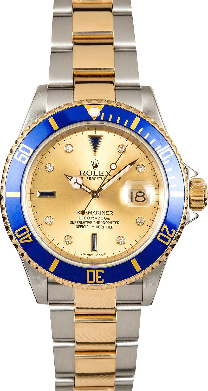 Rolex Blue Submariner 16613 Champagne Serti