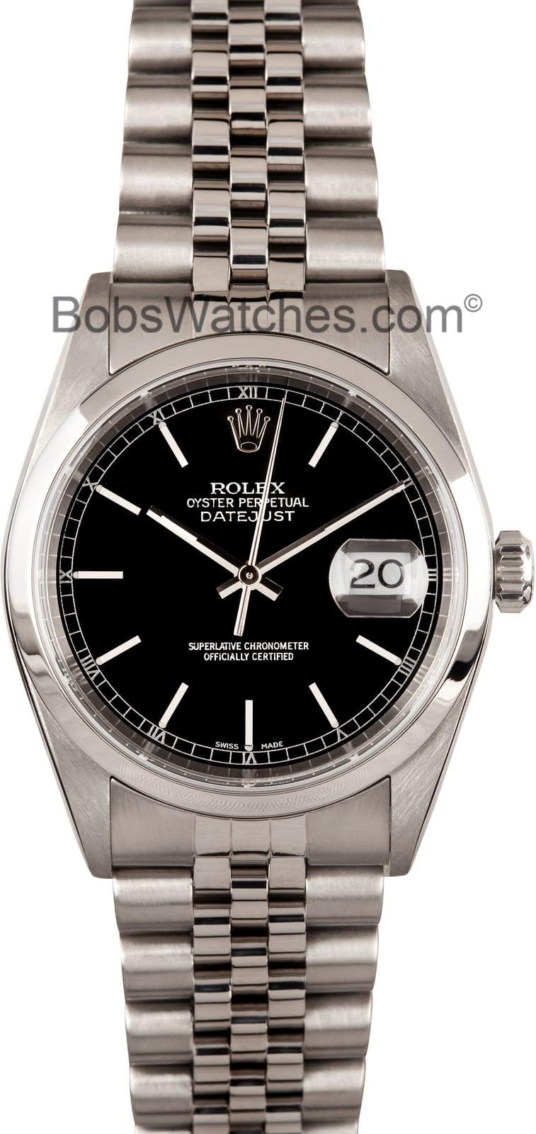 Used Rolex Daytona >> Men's Rolex Datejust Watch Black Dial White Ring 16200 - Save 35%