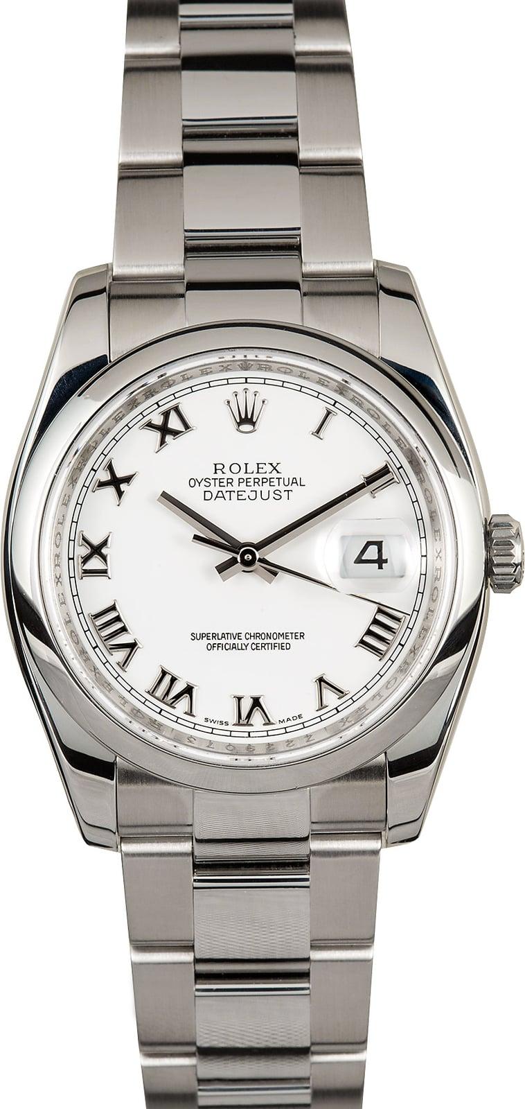 Rolex Datejust 116200 White Roman Dial