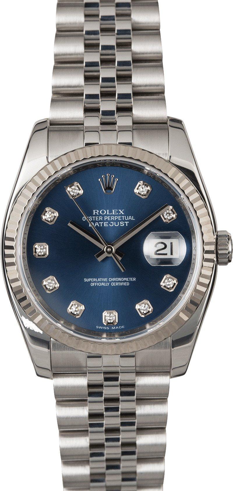 6e2af384ee9 Rolex Datejust 116234 Blue Diamond Dial Steel Jubilee
