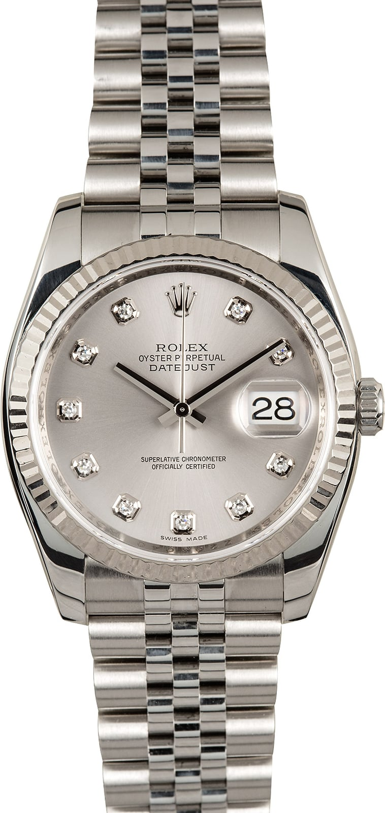 Rolex Datejust 116234 Silver Diamond Dial Steel Jubilee