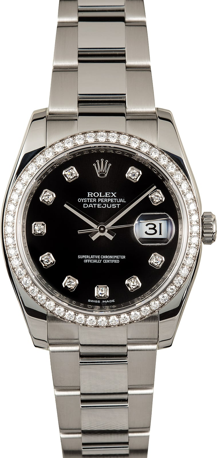 Rolex datejust 116244 black diamond dial for Diamond dial watch