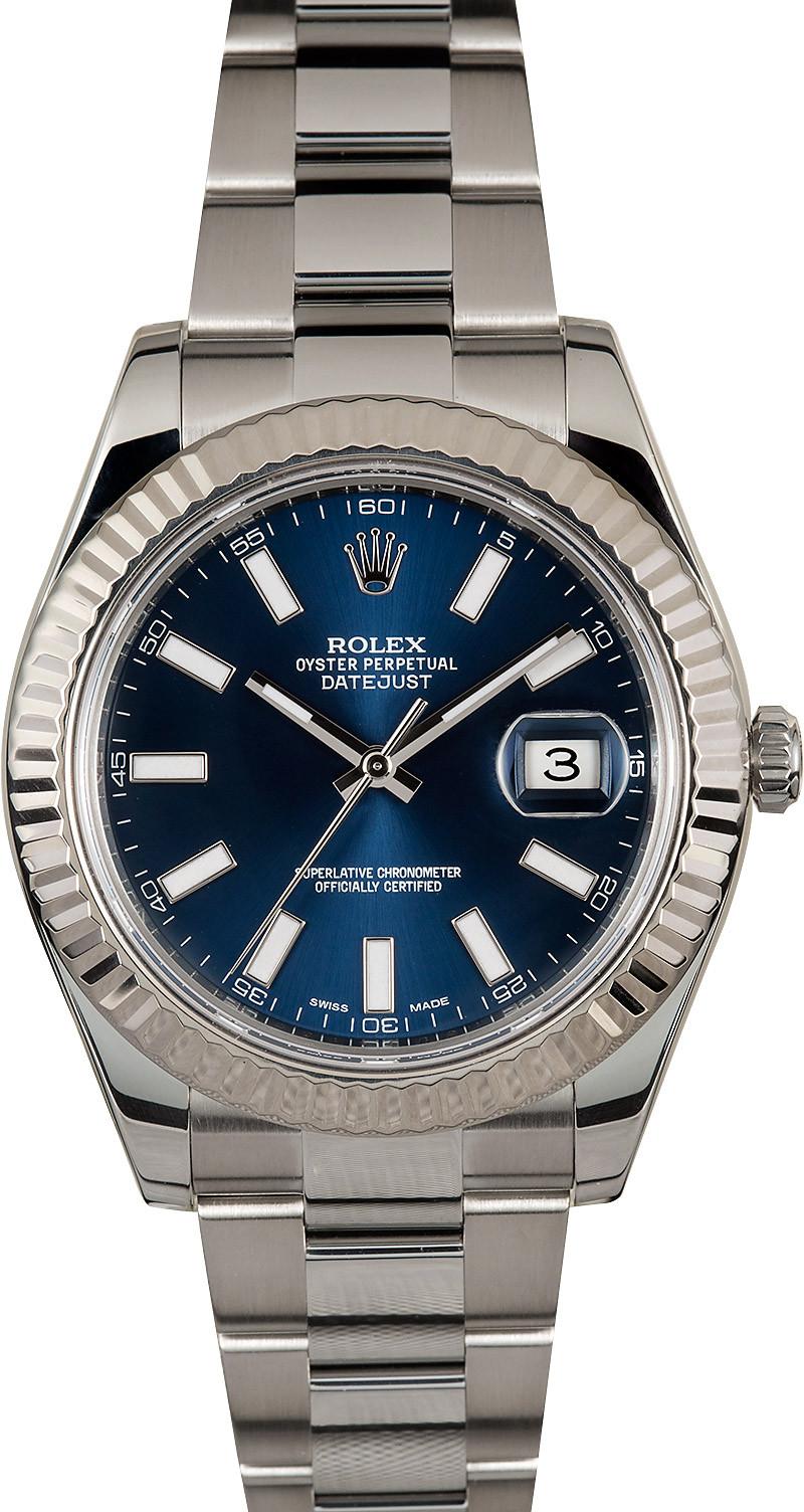 Used Mens Rolex >> Rolex Datejust 116334 Blue Index Dial