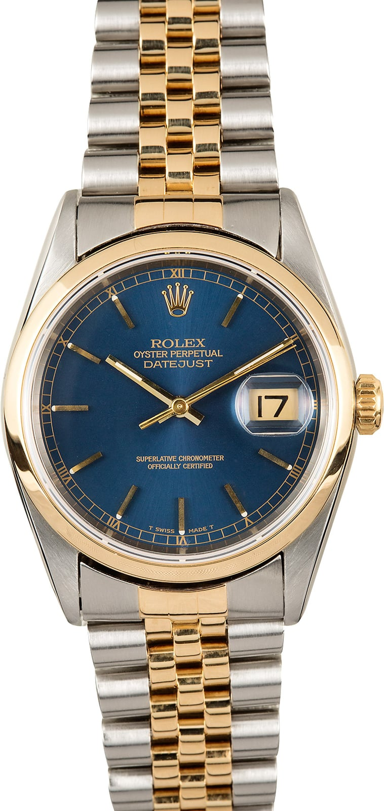 Certified Pre Owned >> Rolex Datejust 16203 Blue Dial