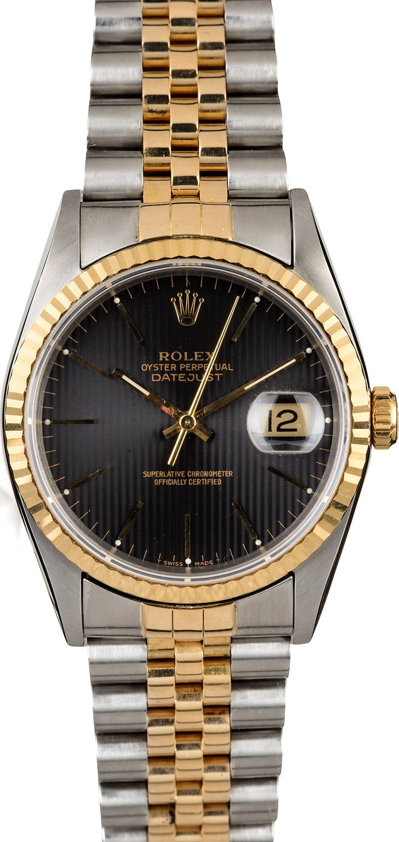 cb1c1020bd5 PreOwned Rolex Datejust 16233 Black Tapestry Dial