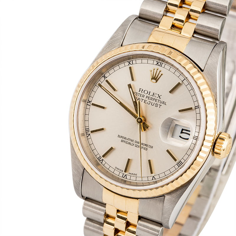3969bcfa9b3 PreOwned Rolex Datejust 16233 Silver Luminous Dial