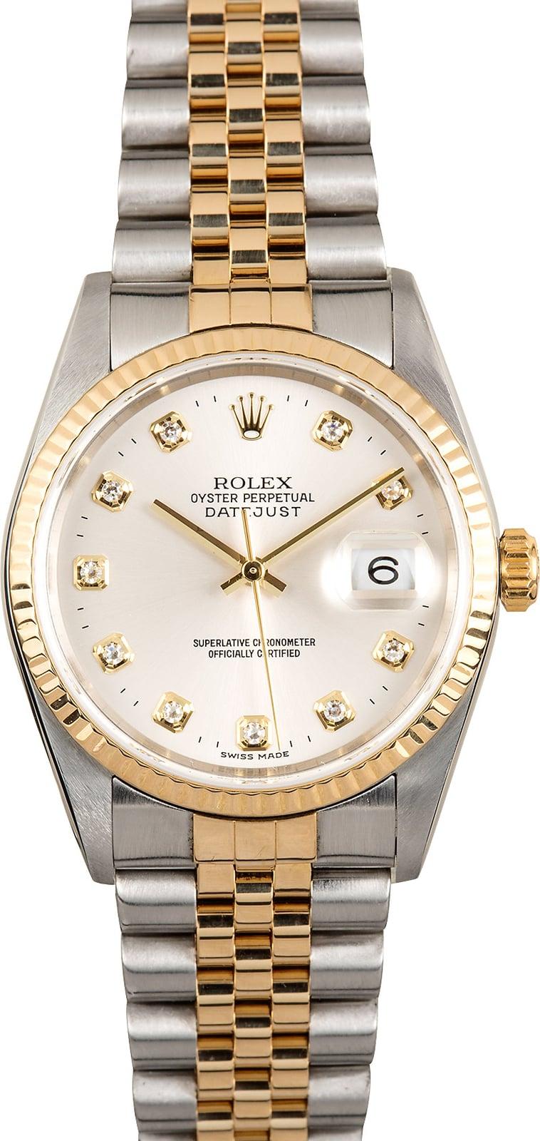 Rolex Datejust 16233 Silver Diamond Dial