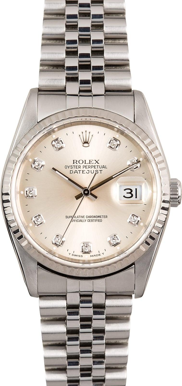 Rolex Datejust 16234 Silver Diamond Dial