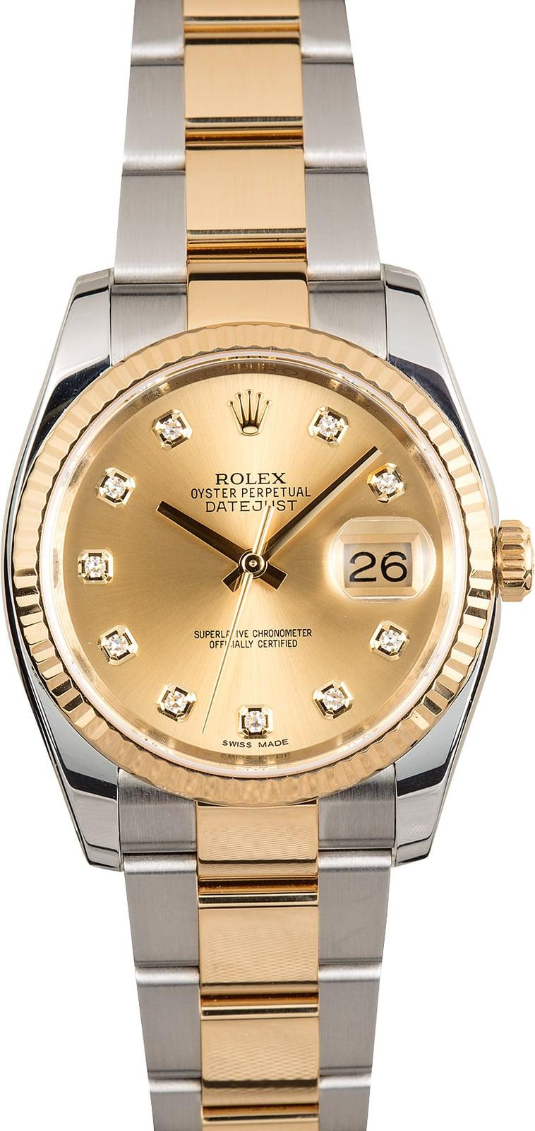 Rolex Datejust Champagne Diamond Dial 116233