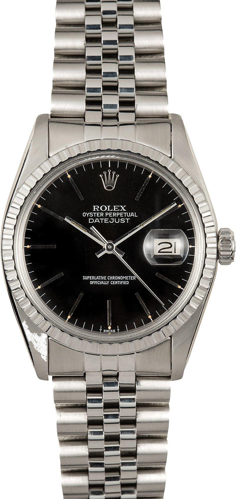 rolex datejust steel 16030 black. Black Bedroom Furniture Sets. Home Design Ideas