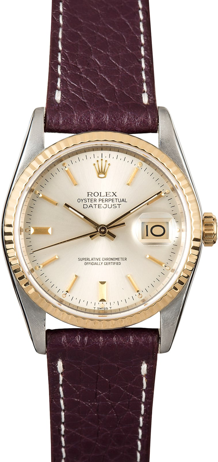 rolex datejust two tone 16233 leather strap