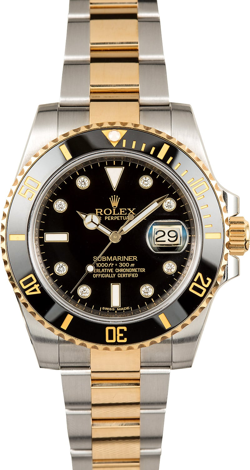 rolex diamond submariner 116613 two tone. Black Bedroom Furniture Sets. Home Design Ideas