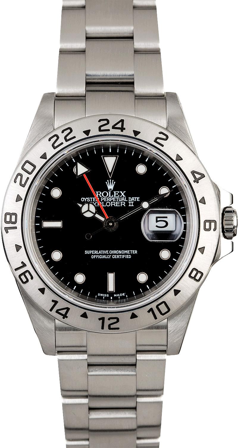 4b043e8e4f0 Certified Men s Rolex Explorer II Ref 16570 Black Dial