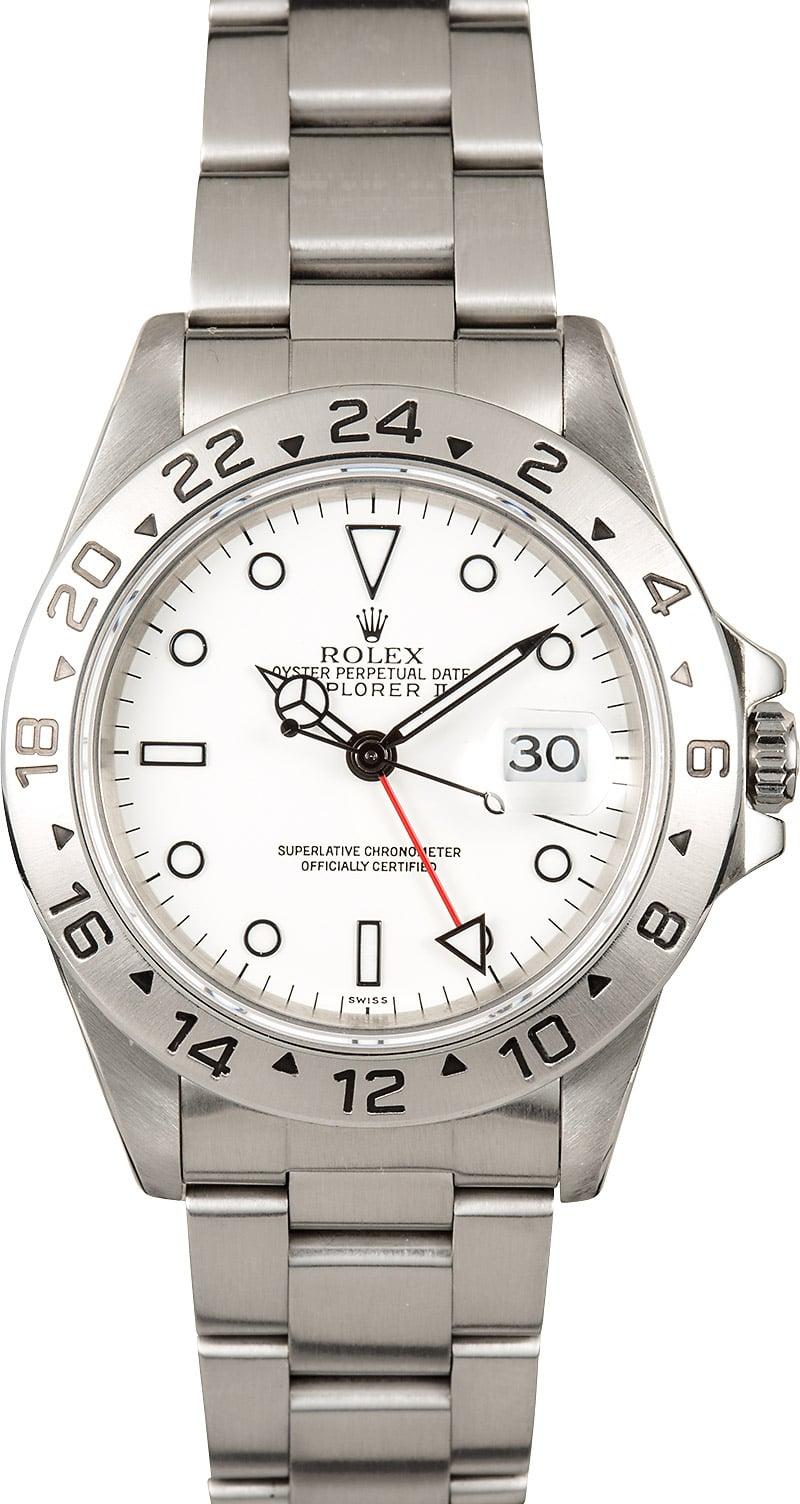 Rolex explorer 2 white dial 16570 pre owned for Rolex explorer
