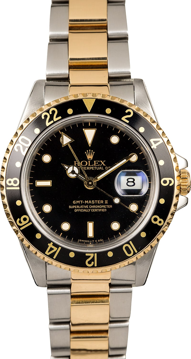 Certified Rolex Gmt Master Ii Ref 16713 Two Tone Oyster