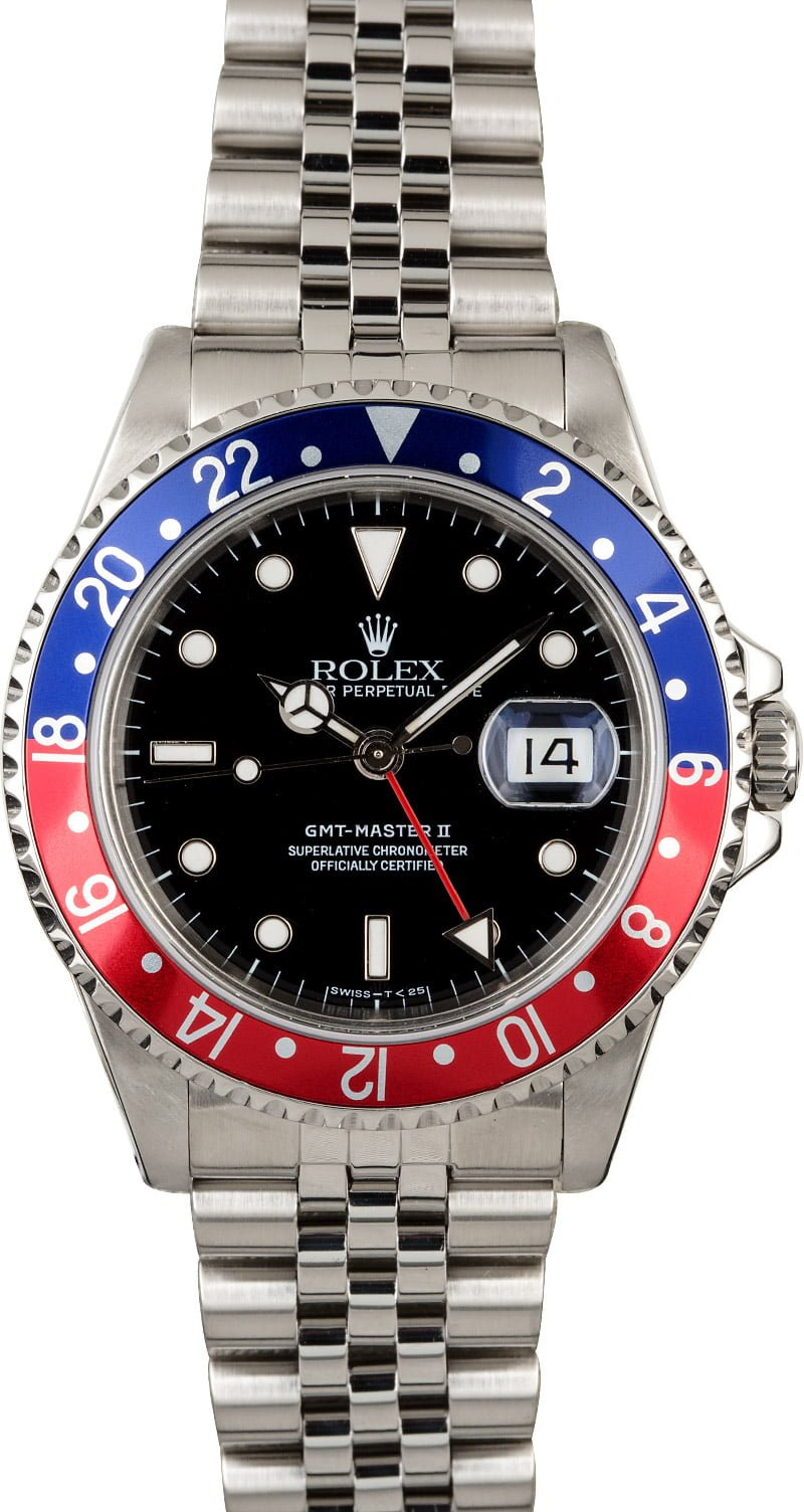 Certified Pre Owned >> Rolex GMT-Master II Ref 16710 'Pepsi' Certified PreOwned