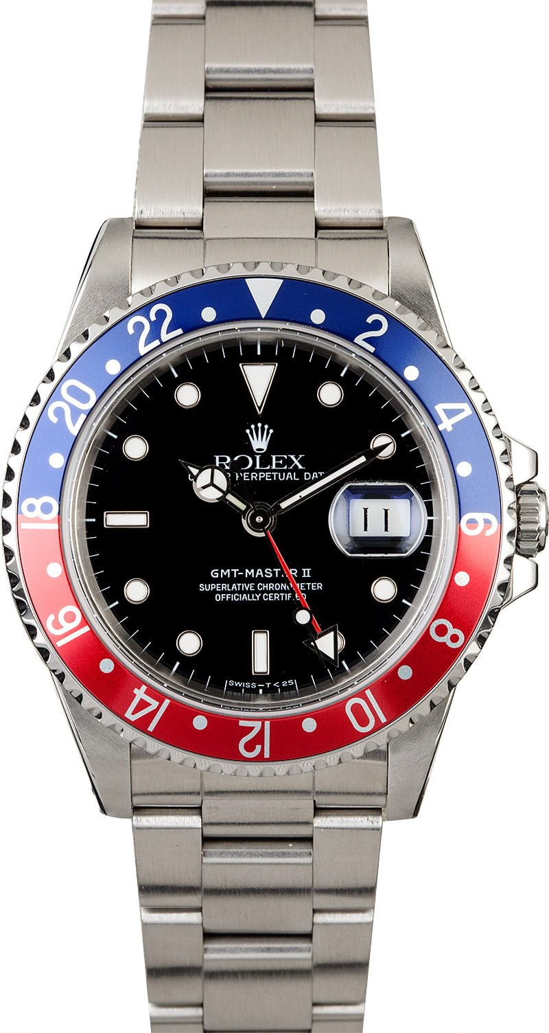 Pre owned rolex gmt master ii 39 pepsi 39 16710 for Rolex gmt master