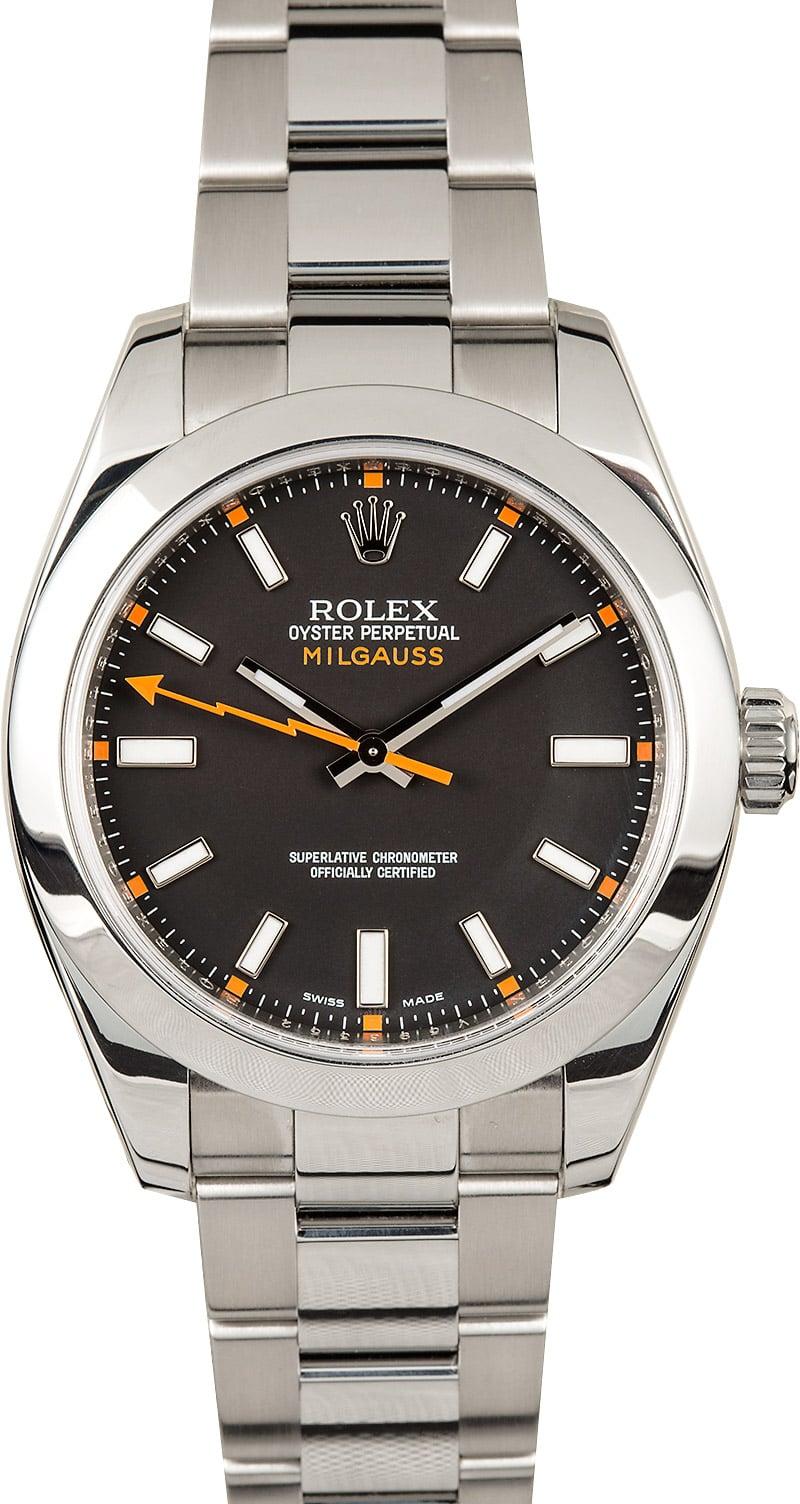 Rolex milgauss 116400 black luminous dial for Rolex milgauss