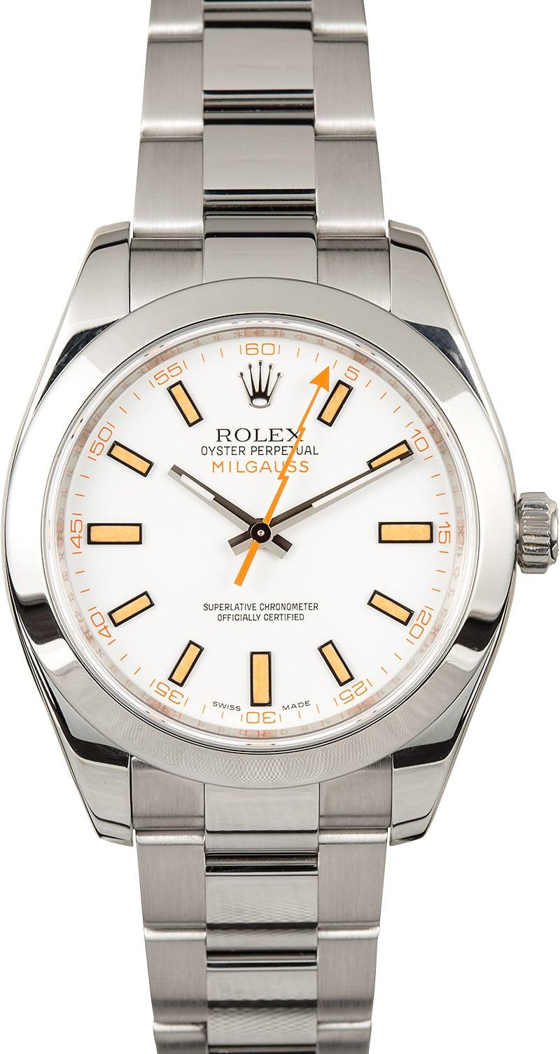 Rolex milgauss 116400 white and orange for Rolex milgauss