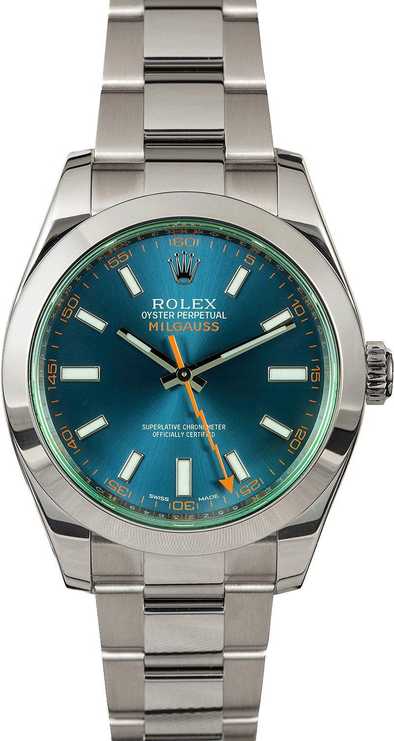 Rolex milgauss 116400gv green crystal blue dial for Rolex milgauss