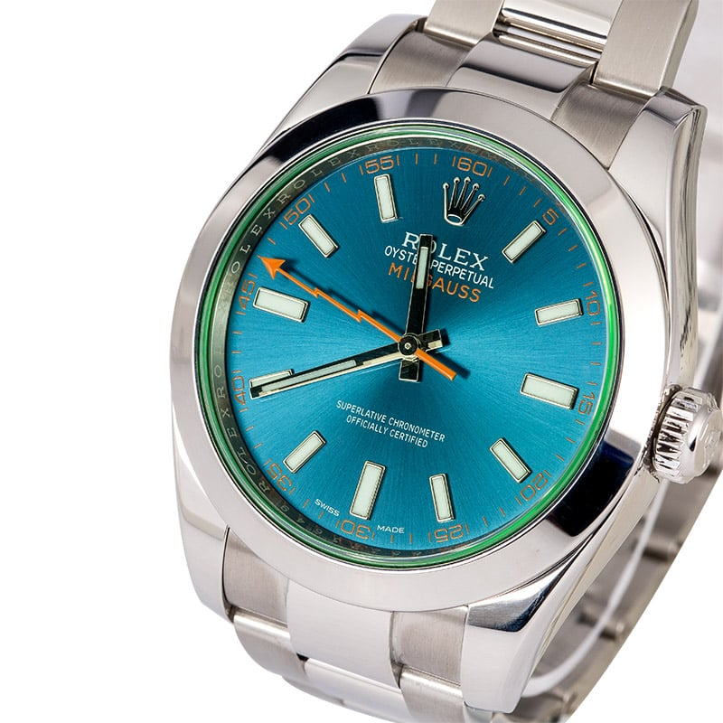 Rolex Milgauss 116400GV Green Crystal Blue Dial