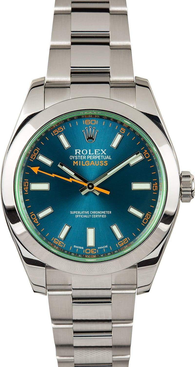 Rolex milgauss 116400gv blue dial for Rolex milgauss