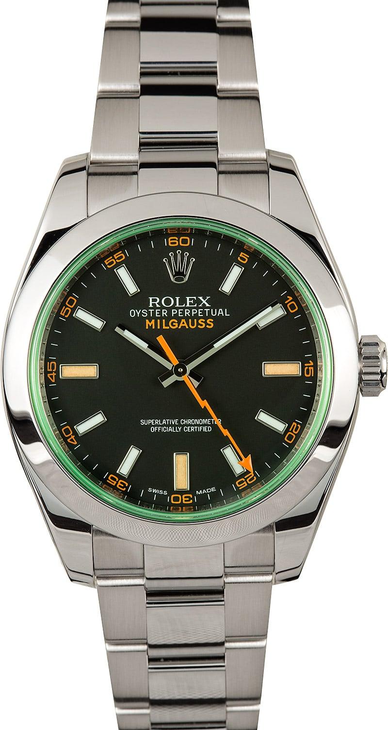 Rolex milgauss green sapphire crystal 116400gv for Rolex milgauss