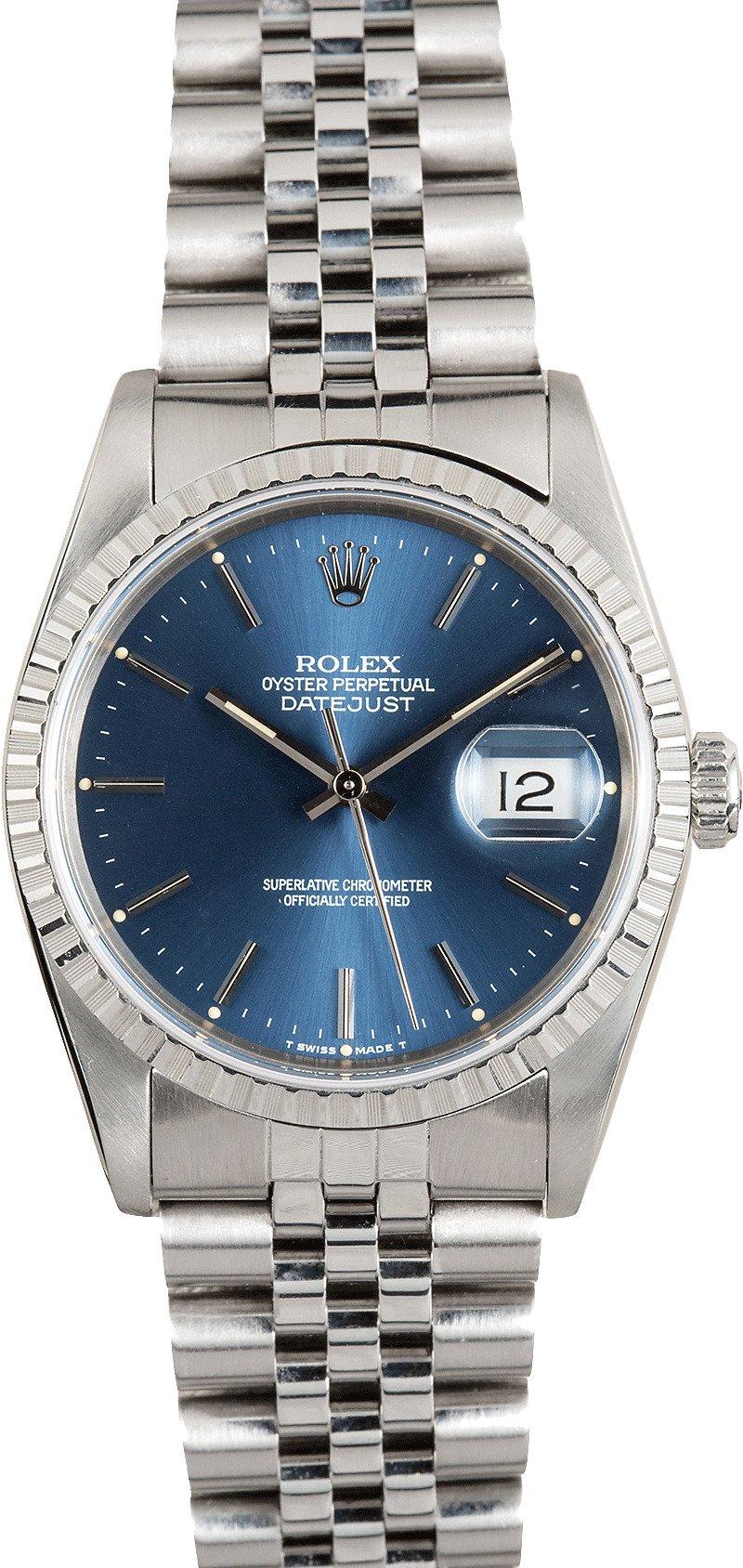 rolex oyster perpetual datejust 16220 blue. Black Bedroom Furniture Sets. Home Design Ideas