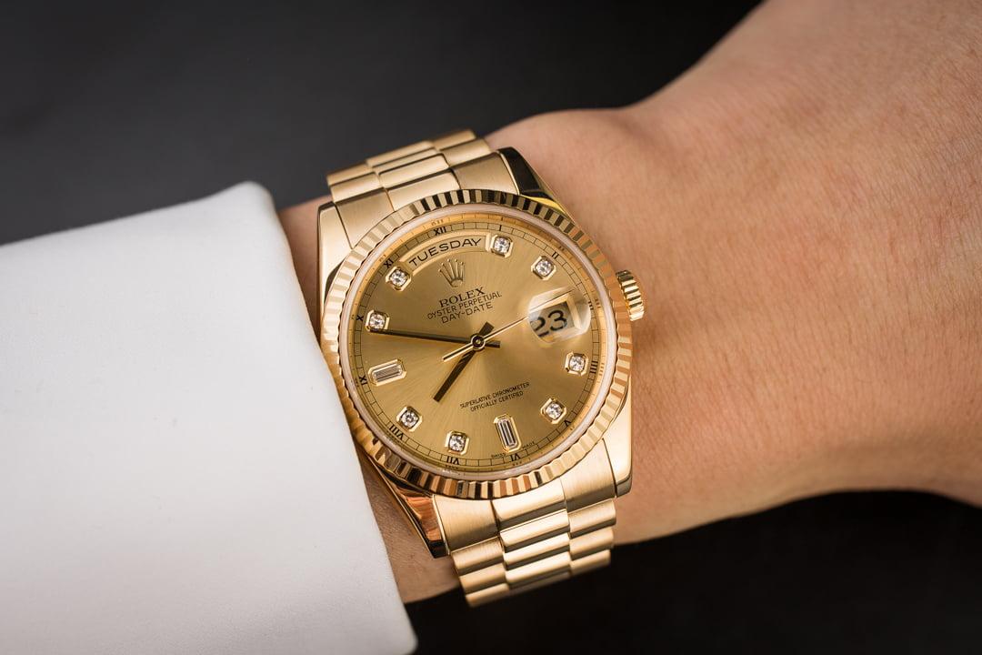 48790c65eaf Men's Rolex President 118238 Champagne Diamond Dial