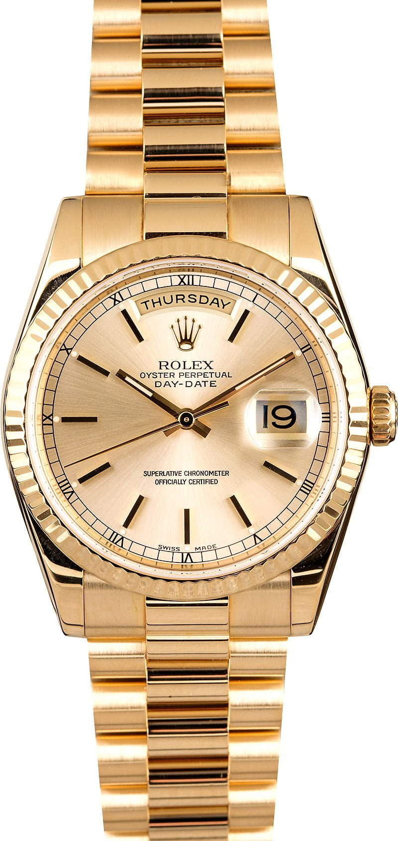 Certified Pre Owned >> Rolex President Gold Day-Date 118238