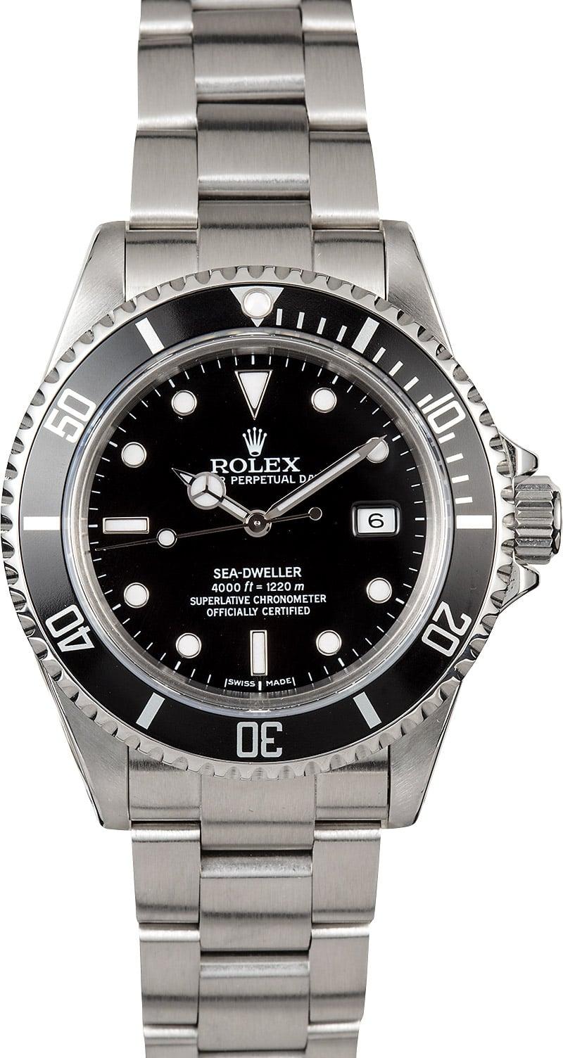 Men 39 s rolex sea dweller 16600 black dial for Rolex sea wweller